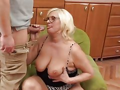 Chubby Tow-haired Granny Fucks Younger Guy