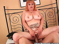 Granny with big tits sucks cock and gets fucked hard