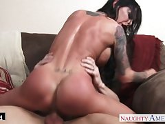 Tattooed chesty brunette babe Brandy Aniston fucking