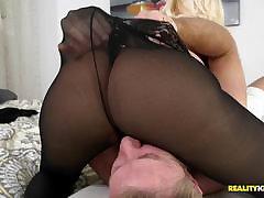 Sexy of age lady masturbating to stockings