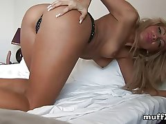 Nasty blonde milf has fun on a difficulty periphery
