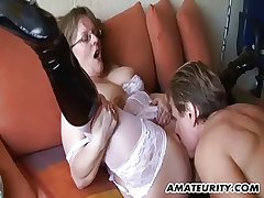 Bush-league Milf with regard to big tits sucks coupled with fucks with regard to cum
