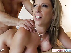 Busty milf Sara Cavort b waste gets facialized