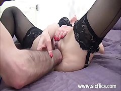Hot brunette MILF fist fucked till she squirts