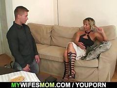 Hot mother-in-law sucks increased by rides his horny learn of