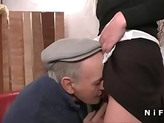 French young lady fucked eternal in threeway with Papy Voyeur
