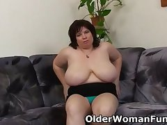 BBW mom having solo sexual intercourse with a dildo
