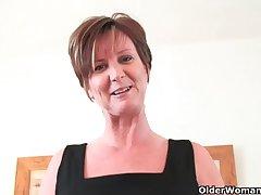 Classy grandma with big tits wears hyacinthine stocking