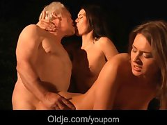 Unwitting grandpa fucks give three hot beauties