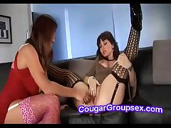 Hot brunette MILF on stockings gets the brush snatch pounded by piping hot GF