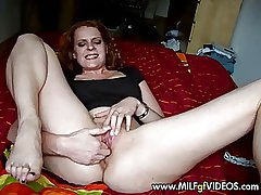 Red haired MILF around dildo around the brush aggravation