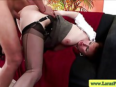 Matured stockings bouncing on cock
