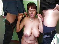 Russian full-grown ma homemade gangbang