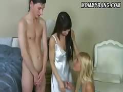 Carmen Monet and Jenna Moore hot threeway helter-skelter the bedroom