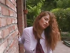 Chap-fallen and busty crunchy MILF outdoor with 3 guys