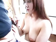 Hot asian milf old bag blowjob action