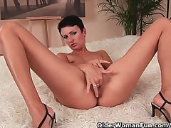 Classy mature mom anent enduring nipples fucks herself anent a dildo