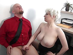 Milf Huge Tits Office Handjob