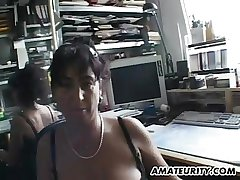 Busty amateur Milf habitation make believe in facial