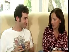 Horny stud plays with his gorgeous tenebrous stepmom