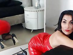Dismal Haired Milf Nearby Hot Leather Skirt Teases