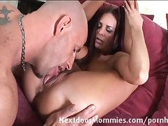 Brunette cougar takes covered in cum