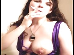 Hot Milf Smoking and Letting Say no to Huge Milky Knockers Flow