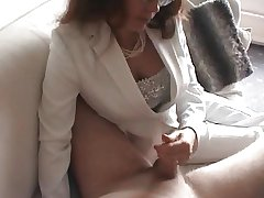 Unsightly milf gives a handjob