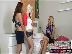 Three teenies and a milf enjoying an intimate lesbian innings