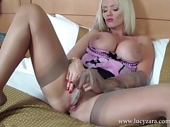Milf Lucy Zara fucks say no to pussy with say no to silky stockings and effulgent toy