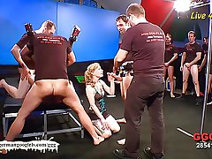Blonde Teen and Brunette MILF gangbang