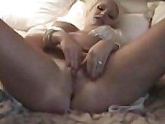 Canadian milf respecting sickly lingerie masturbates plump pussy