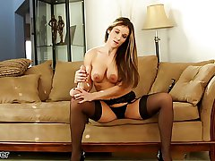 Busty MILF Mandy Flores takes a chunky lubed dildo at JOI