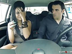 Blistering Latin GF squirts in his motor vehicle