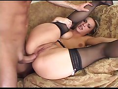Blonde has queer anal sex in thigh high stockings