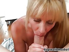 Sexy Blonde MILF Loves to Swallow Cum