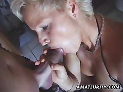 Busty second-rate Milf toys and sucks with facial cumshot