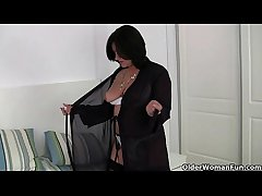 British milf Jessica Fribble wears crotchless knickers