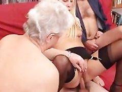 A younger blonde take charge of is fucked by a group of grandpas