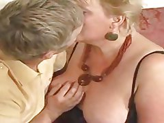 Large golden haired granny drilled by youthful dude