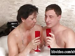Full-grown german whore gets facialized in jacuzzi