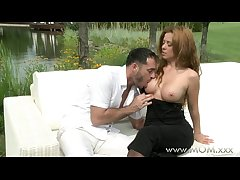 Jocular mater Redhead MILF making out outdoors