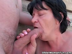 Ugly grandma with 1 grovel nipples gets fucked outdoors