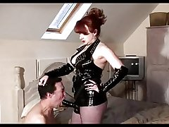 Mature Mistress In flames slams her slaves asshole