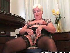 Busty and curvy grandma Sandie heap