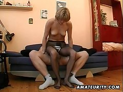 Hot amateur Milf masturbates, sucks and fucks on every side cum