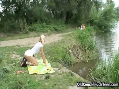 Aged pervs lovemaking picnic with teeny