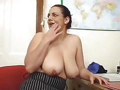Hot Adult Brunette With Natural Saggy Boobs