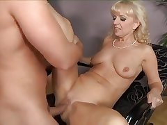 Mature blonde making out