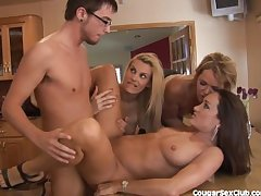 3 MILF Babes Gang Burgeoning Someone's skin Car Take a bath Guy